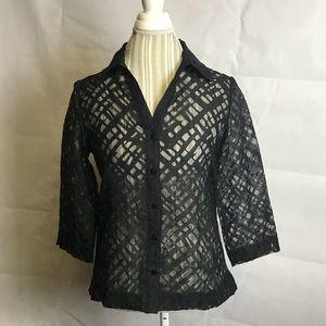 Chico's black button up collar blouse sz 0